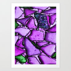 Beach Glass Mosaic 3 purple Art Print