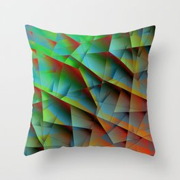 Abstract bright pattern of green and overlapping blue triangles and irregularly shaped lines. Throw Pillow