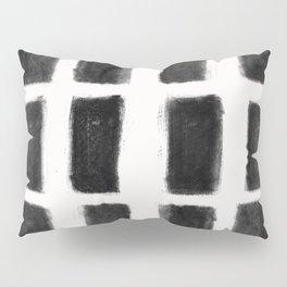 Brush Strokes Vertical Lines Black on Off White Pillow Sham