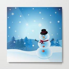 Christmas Snowman Metal Print
