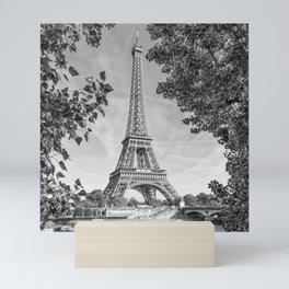 PARIS Eiffel Tower & River Seine | Monochrome Mini Art Print