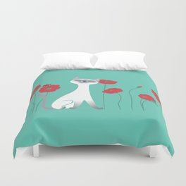 Siamese & Poppies Duvet Cover