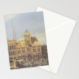 Piazza San Marco Clock Tower - Canaletto (Distressed Plaster Look) Stationery Cards