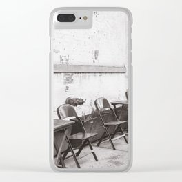 Going for Coffee in Brooklyn Black and White Clear iPhone Case