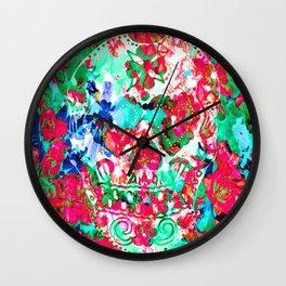 Floral Skull Wall Clock