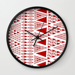 Zig Zag Pattern -  brick red Wall Clock