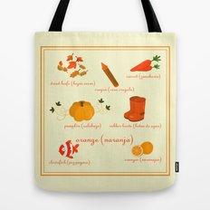 Colors: orange (Los colores: naranja) Tote Bag