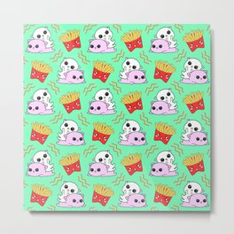 Cute sweet adorable Kawaii playful cats, yummy happy funny French fries cartoon light pastel teal green pattern design. Kittens and comfort food. Metal Print