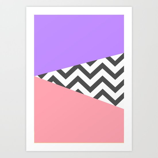 Color Blocked Chevron 7 Art Print