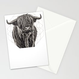 Vintage Painting of Highland Cow Stationery Cards