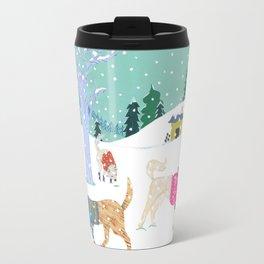 Winter Jindos Travel Mug