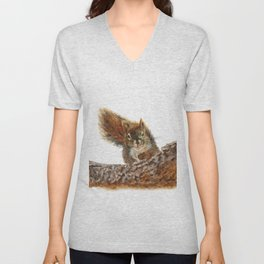 Cheeky the Red Squirrel by Teresa Thompson Unisex V-Neck