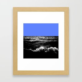 Black Wave w/Light Blue Horizon Framed Art Print