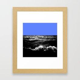 Black Wave w/Light Blue Horizon Framed Art Print