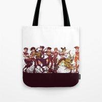 jjba Tote Bags featuring jojo's nonsense adventure by vvisti