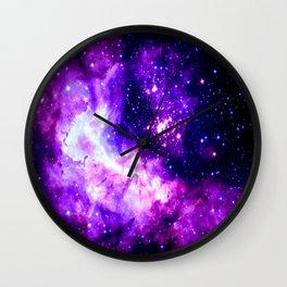 Purple Galaxy : Celestial Fireworks Wall Clock