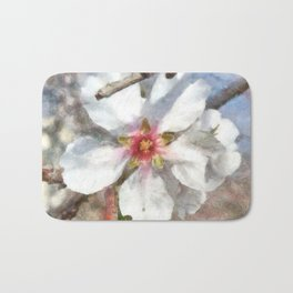 Almond Blossom Study Watercolor Bath Mat