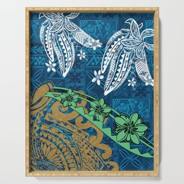 Polynesian - Samoan - Blue Hawaii Tribal Threads Print Serving Tray