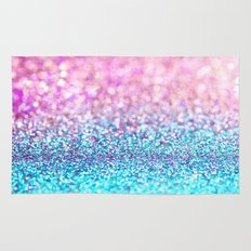 Pastel sparkle- photograph of pink and turquoise glitter Rug