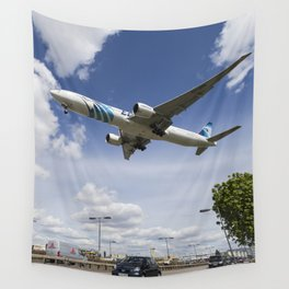 EgyptAir boeing 777  Landing at Heathrow Wall Tapestry