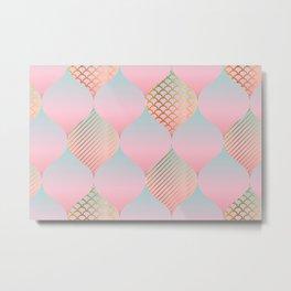 Elegant abstract geometric tender rosy pastel color illustration pattern. Textured gradient oriental style repeatable motif Metal Print