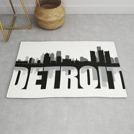 Detroit Silhouette Skyline Rug