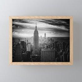 Empire State Building (Black and White) Framed Mini Art Print