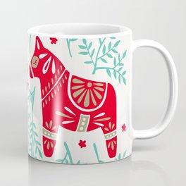 Swedish Dala Horses – Red & Mint Palette Coffee Mug