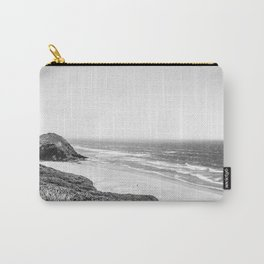 Beach Horizon | Black and White Color Sky Ocean Water Waves Coastal Landscape Photograph Carry-All Pouch