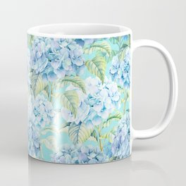 Blue floral hydrangea flower flowers Vintage watercolor pattern Coffee Mug