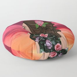 Rosa and Her Mexican Sunset Floor Pillow