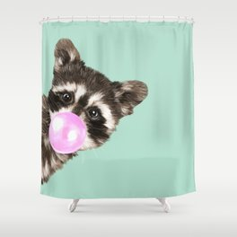 Bubble Gum Baby Raccoon Shower Curtain