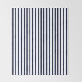 Navy Blue Vertical Stripes Throw Blanket