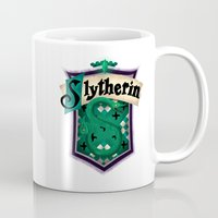 slytherin Mugs featuring Slytherin by Zeynep Aktaş