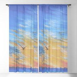 ocean sunset, original oil painting landscape, blue wall art, beach decor Sheer Curtain