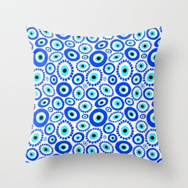 Evil Eye Mediterranean Lucky Symbol Throw Pillow
