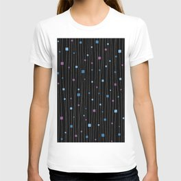 Squares and Vertical Stripes - Cold Colors on Black - Hanging T-shirt