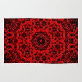 Vibrant red and black wattle mandala Rug