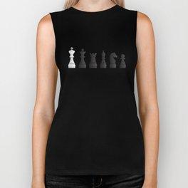 All black one white chess pieces Biker Tank