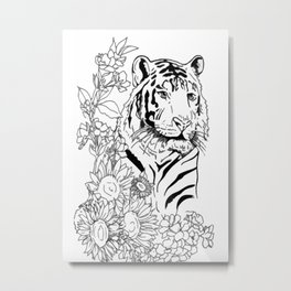 Sunflower Tiger: floral tiger print Metal Print