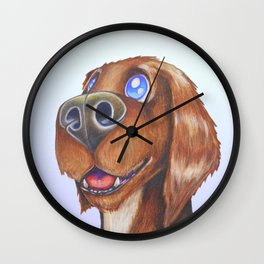 A portrait of a happy puppy Wall Clock
