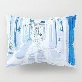 MyKonos Greece Watercolor Digital Painting Pillow Sham
