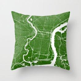 Green City Map of Philadelphia, PA Throw Pillow