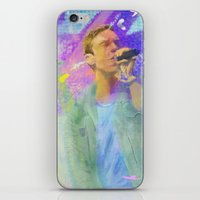 coldplay iPhone & iPod Skins featuring Chris Martin-Coldplay-Digital Impressionism by Sophie Grace