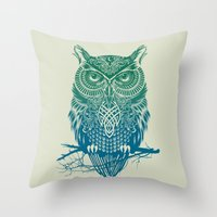 city Throw Pillows featuring Warrior Owl by Rachel Caldwell