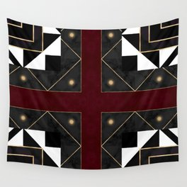 FourSquared  Black White Red Gold Pattern Wall Tapestry