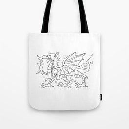 Welsh Dragon Outline Tote Bag
