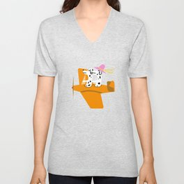 Airplane and Dalmatians Unisex V-Neck