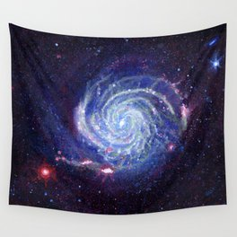 Pinwheel Galaxy Gouache Watercolor Painting Wall Tapestry