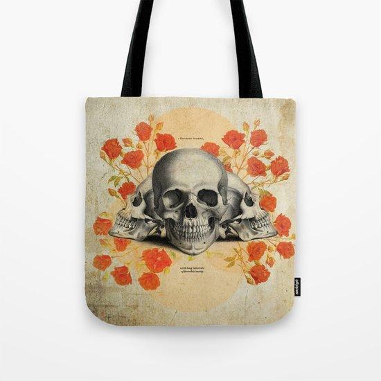 I Became Insane... Edgar Allan Poe Skull Print Tote Bag